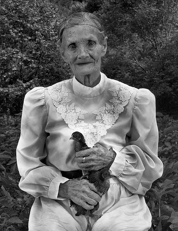 Old Lady and Her Chickens