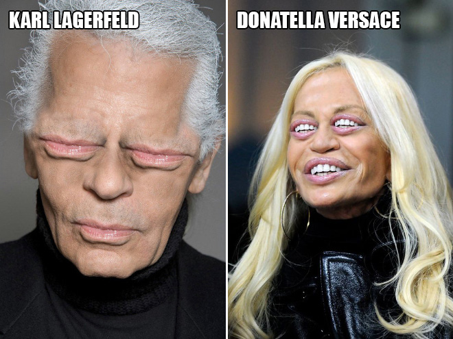 Karl Lagerfeld and Donatella Versace
