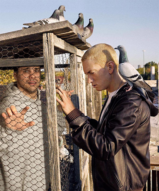 Hanging out with Eminem.