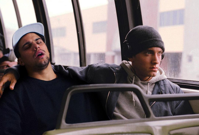Riding in a bus with Eminem.