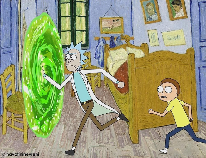Rick and Morty mashed with classic art.