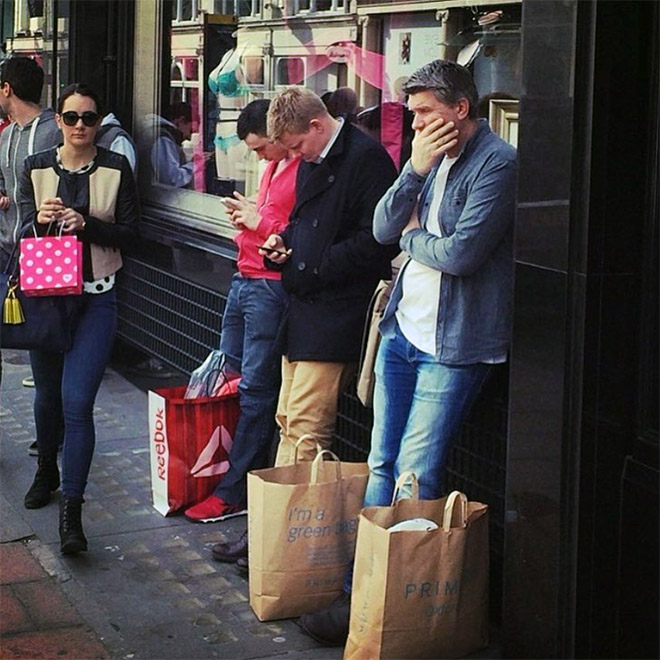 Poor husbands trapped in the shopping hell.