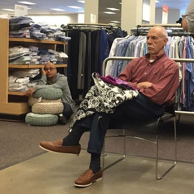 Miserable husband trapped in the shopping hell.