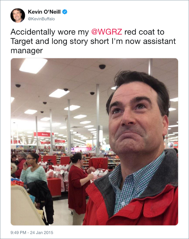 Accidentally wore my red coat to Target and long story short I'm now assistant manager.