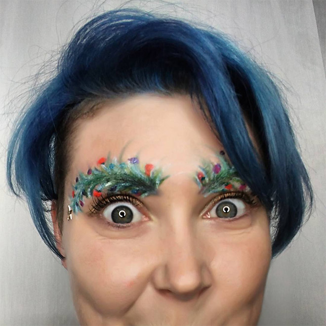 Has she gone too far with her Christmas tree eyebrows?