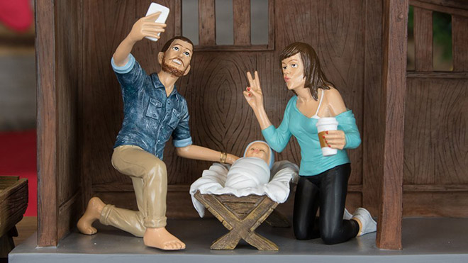 Baby Jesus with his hipster parents.