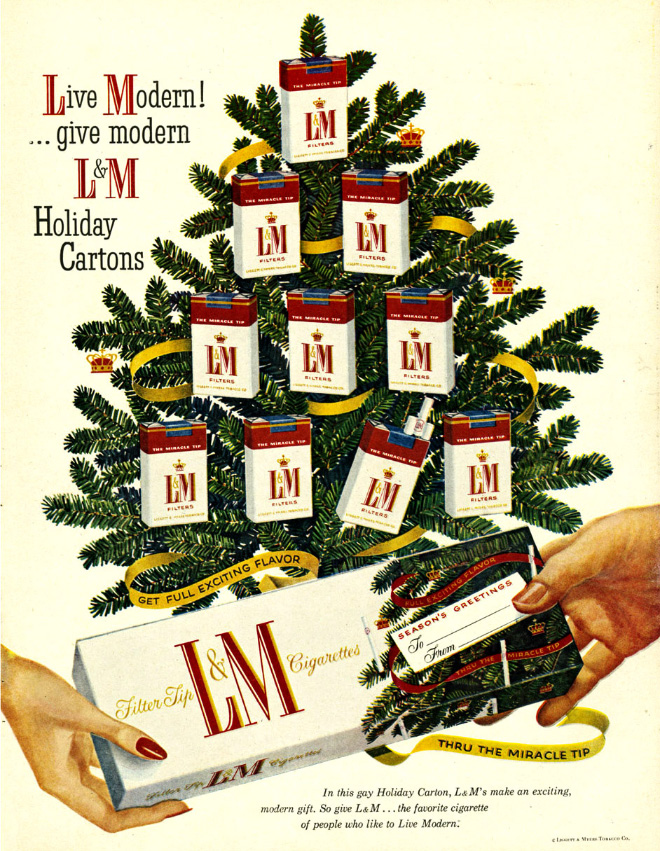 Christmas Ads.Cigarettes From Santa Vintage Tobacco Christmas Ads