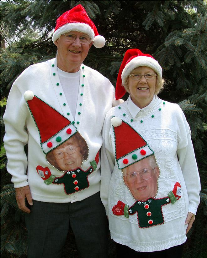 Ugly Christmas sweater couple.