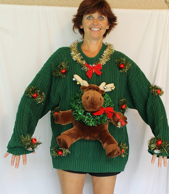 Terribly ugly Christmas sweater.