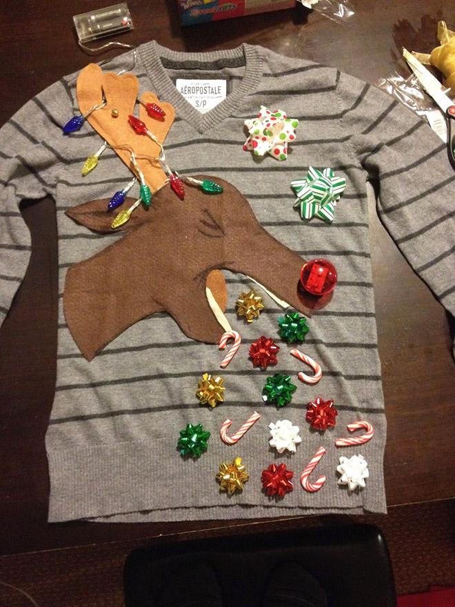 Vomiting reindeer Christmas sweater.