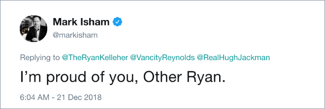I'm proud of you, Other Ryan.