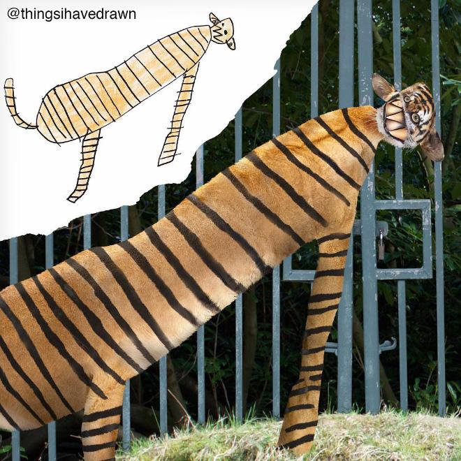 Tiger doodle comes alive.