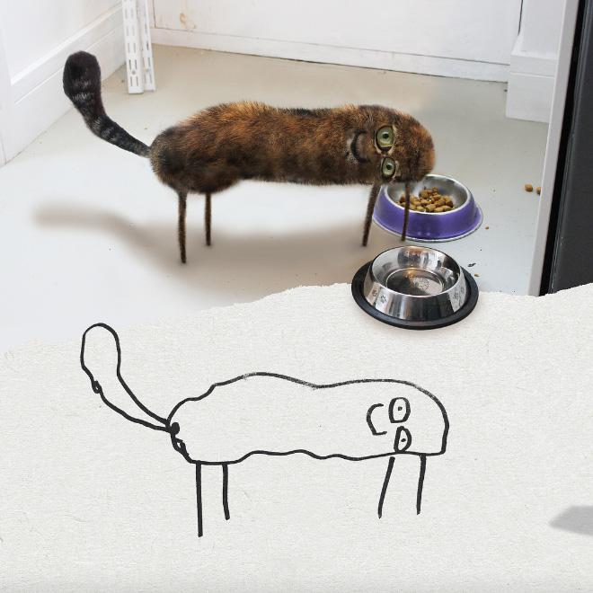 Cat doodle comes alive.
