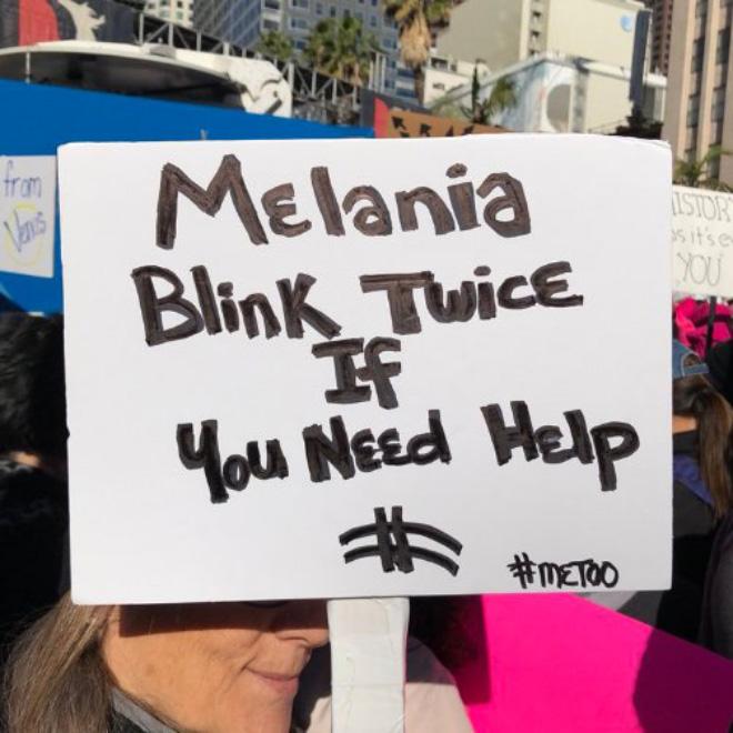 Melania, blink twice if you need help!