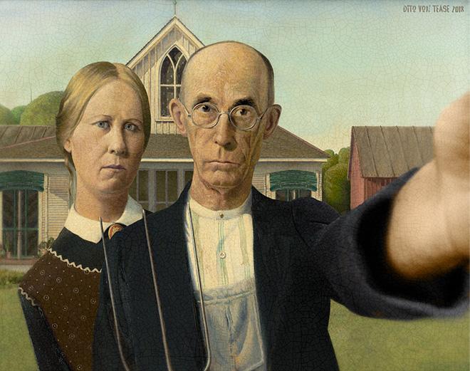 American Gothic selfie.