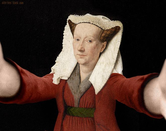 Portrait of Margaret Van Eyck selfie.