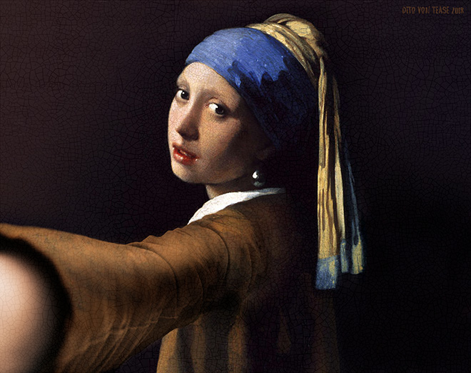 Girl With a Pearl Earring selfie.