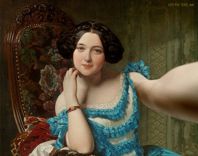 Classical painting transformed into a selfie.