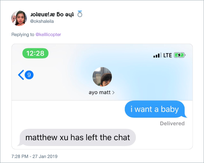 "Hilarious response to ""I want a baby"" message."