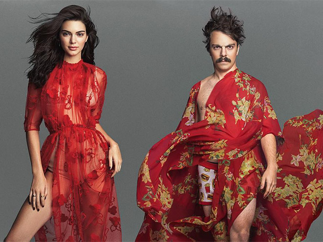 Kirby Jenner and Kendall Jenner in red dresses.