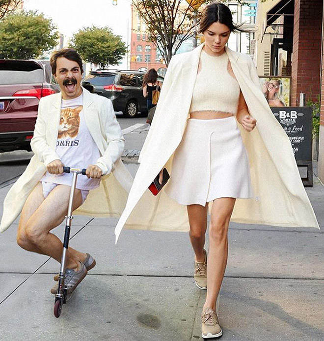Kirby Jenner and Kendall Jenner on the street.