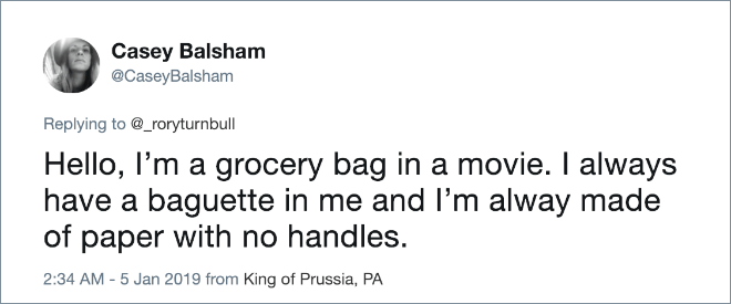 Hello, I'm a grocery bag in a movie. I always have a baguette in me and I'm alway made of paper with no handles.