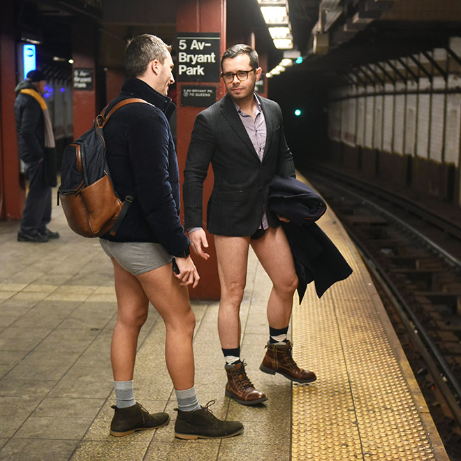No pants subway ride participants in NYC.