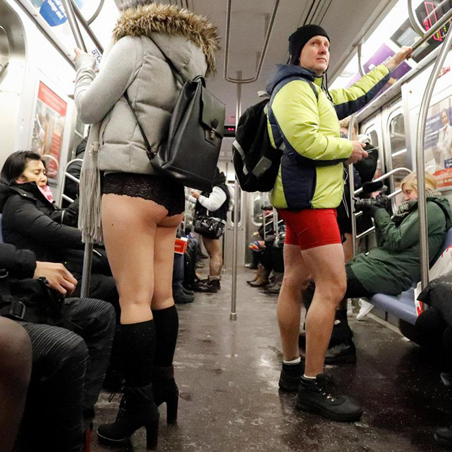 "They're participating in ""No pants subway ride"" movement."