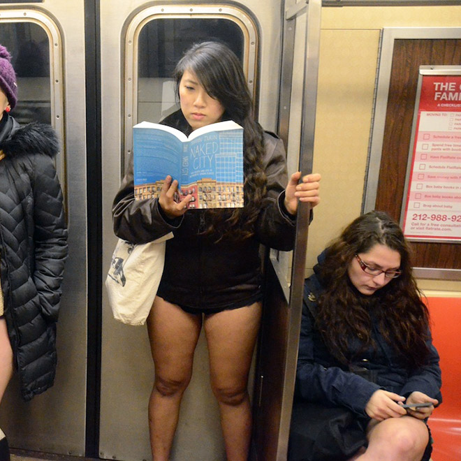 No pants subway ride participant.