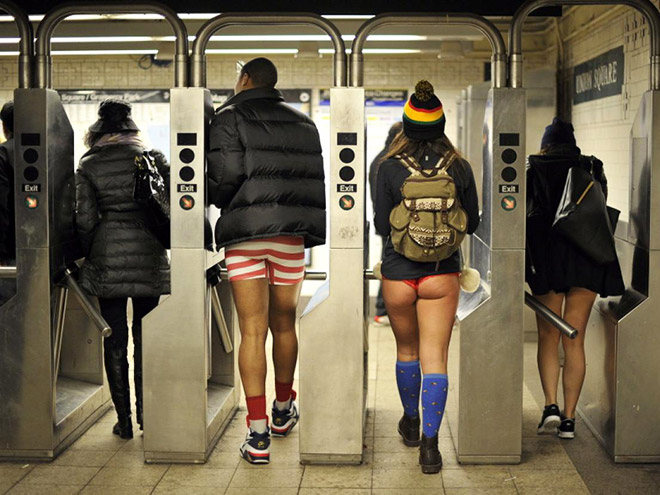 No pants subway ride participants.