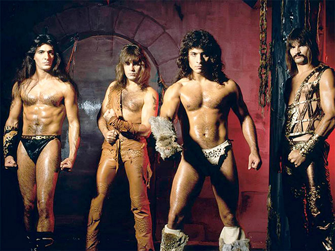 Weird vintage metal band photo.