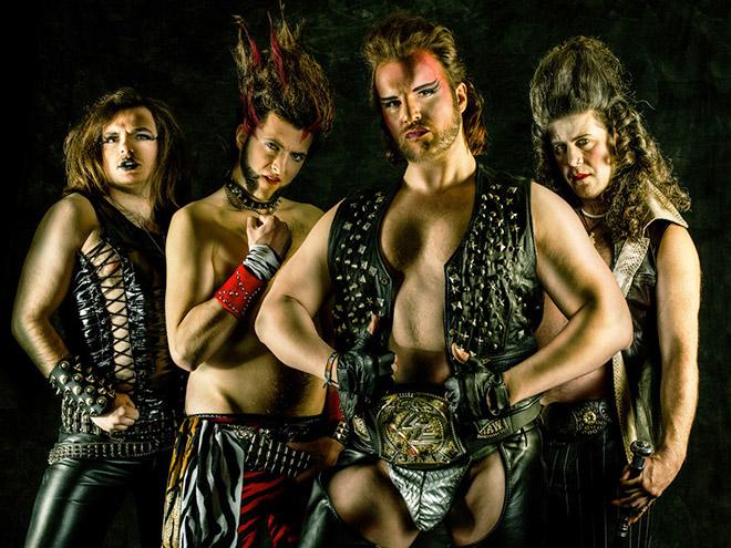 Awkward metal band group photo.