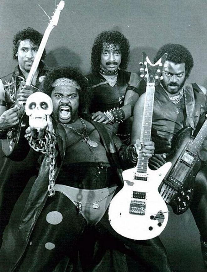 Awkward vintage metal band photo.