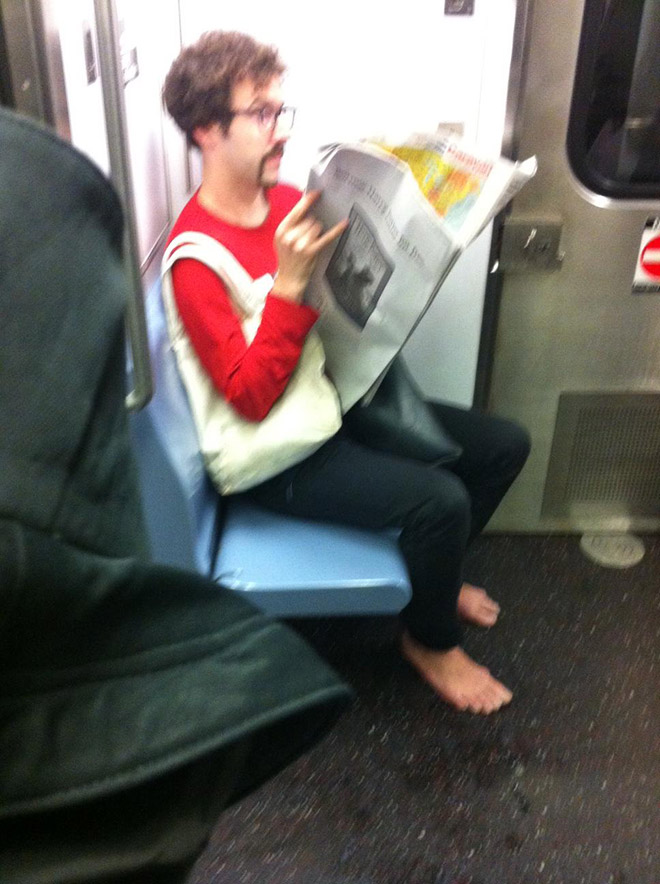 Hipster in a subway.