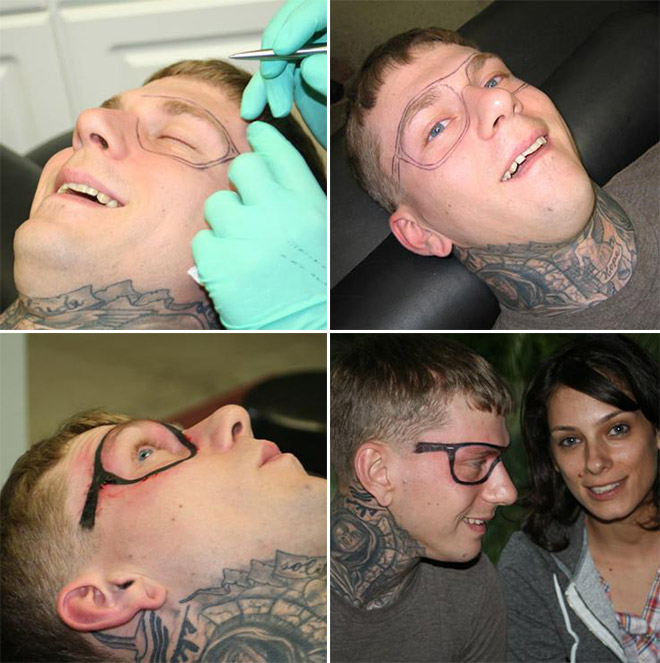 Crazy hipster getting an eyeglasses tattoo.