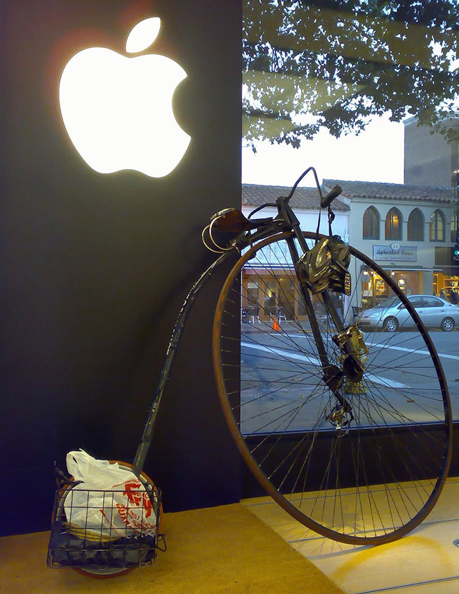 Hipster parked near the Apple store.