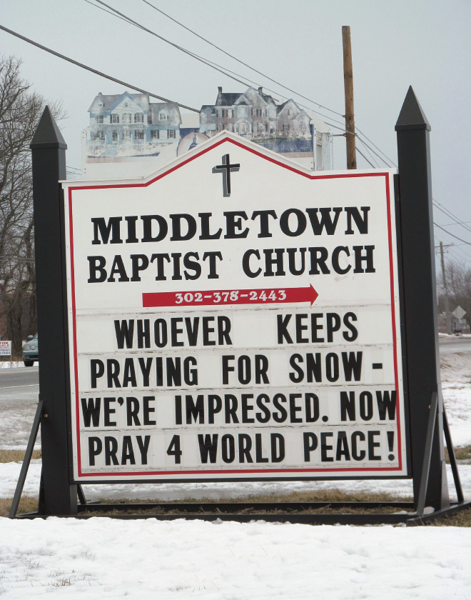 Whoever keeps praying for snow - we're impressed. Now pray for world peace!
