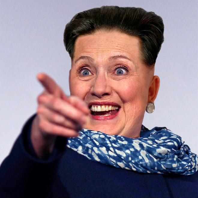 Hillary Clinton with Kim Jong-Un hairstyle.