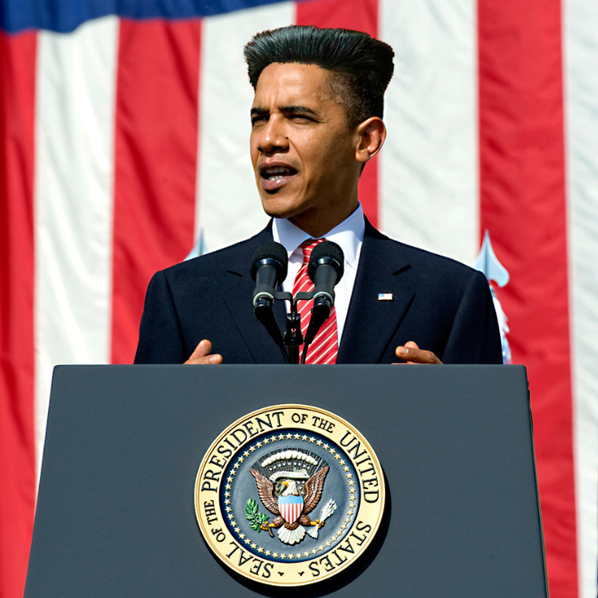 Obama with Kim Jong-Un hairstyle.
