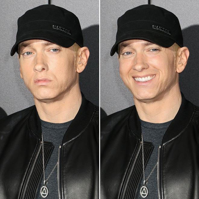 Smile really changes Eminem.