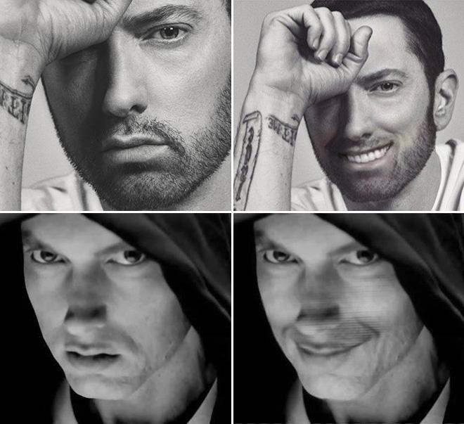 Smiling Eminem looks terrifying.