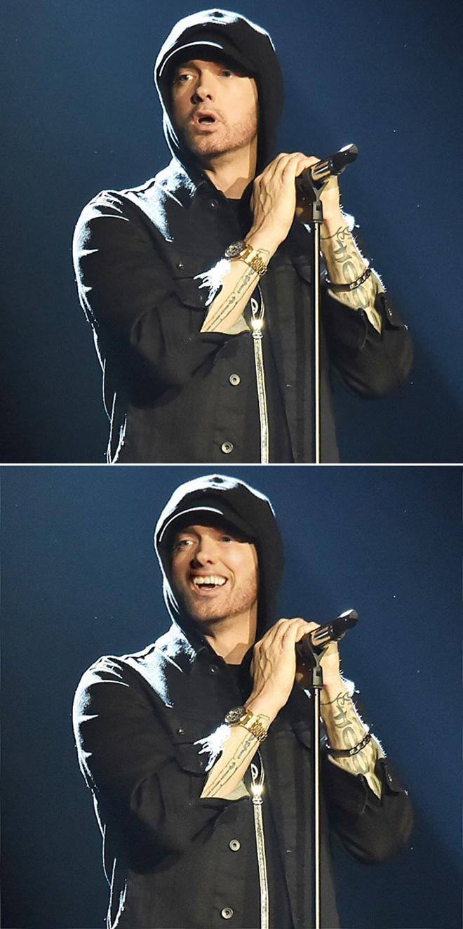 Smiling Eminem looks really awkward.