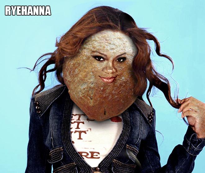 Bread celebrity: punny, stupid Photoshop project.