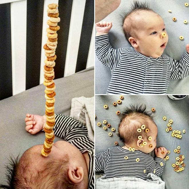 Dumb viral trend: stacking cereal on babies. #CheerioChallenge