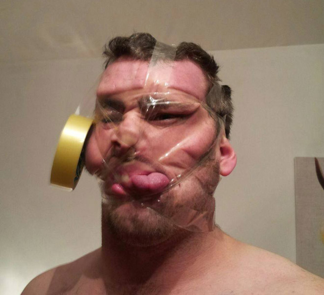 Scotch tape selfie. Beautiful, isn't it?