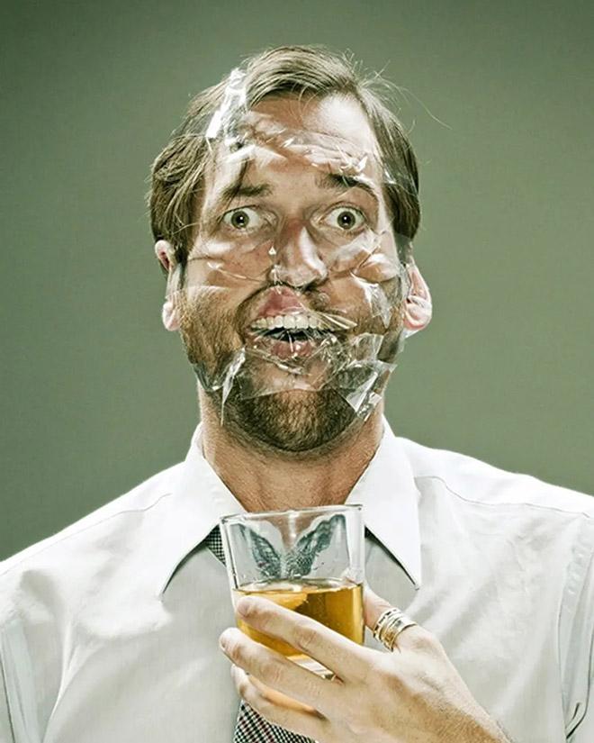 Scotch tape portrait. Creepy or funny?