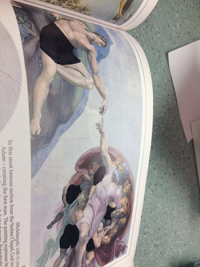 Art history book censored by Christian college.
