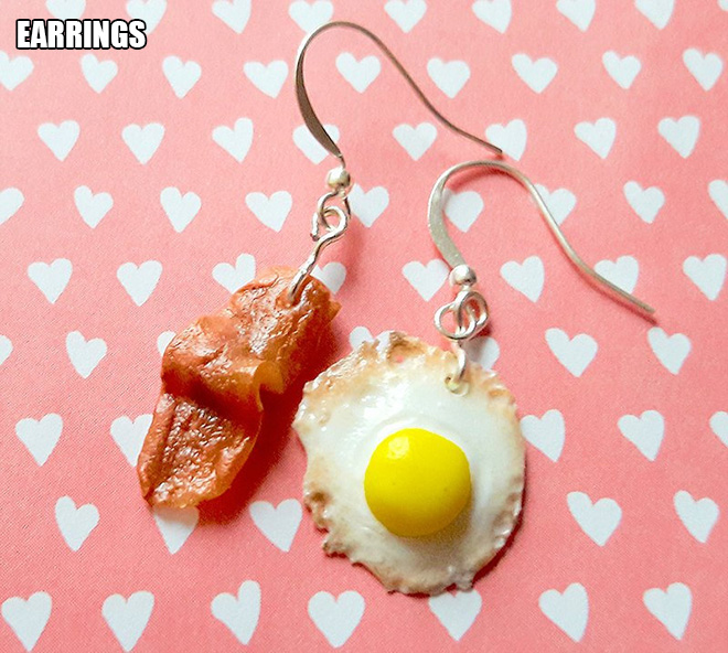 Bacon and eggs earrings.