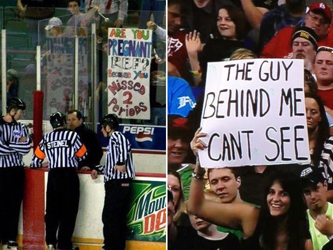 Funny fan signs.