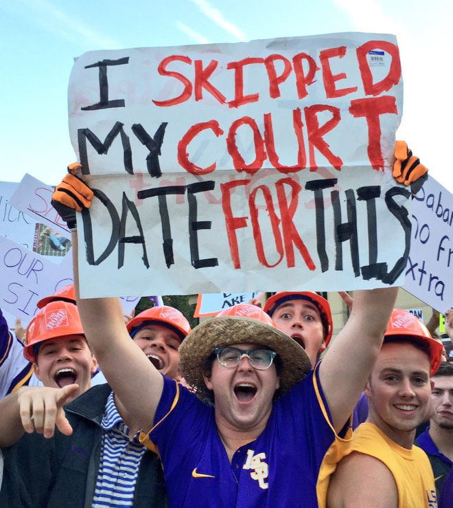 Funny fan sign.